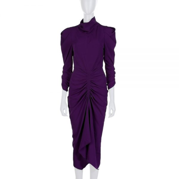 Purple Gathered Long Sleeved Dress by Isabel Marant - Le Dressing Monaco