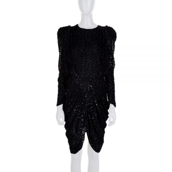 Black Plunging Ruched Fitted Velvet Dress by Isabel Marant - Le Dressing Monaco