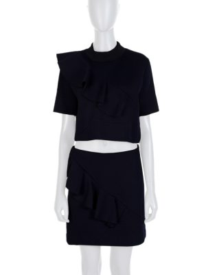 Blue Ruffled Skirt Top Cropped Set by Marni - Le Dressing Monaco