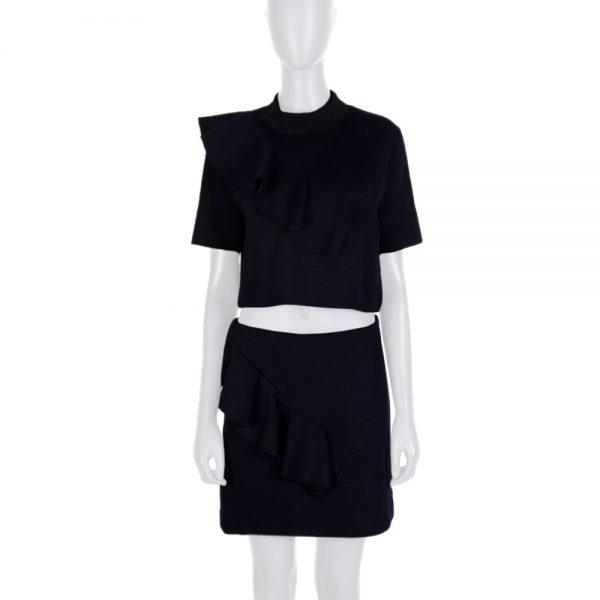 Blue Ruffled Skirt Top Cropped Set by Marni - Le Dressing Monaco