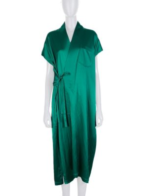 Green Croise Satin Dress by Balenciaga - Le Dressing Monaco
