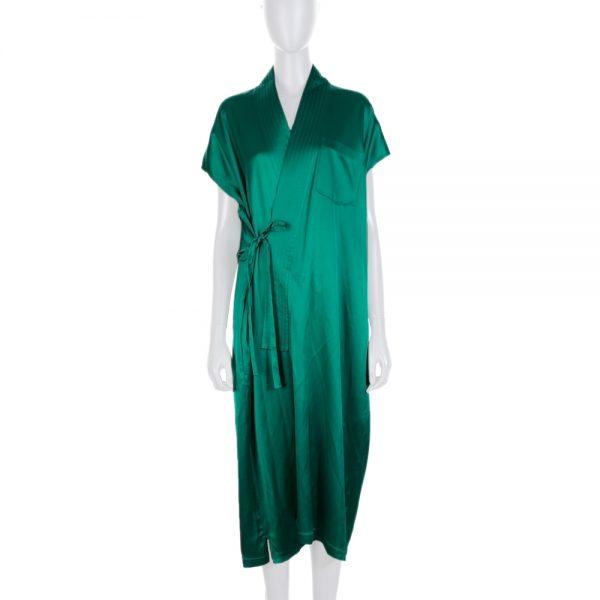 Green Croise Satin Dress by Balenciaga - Le Dressing Monaco