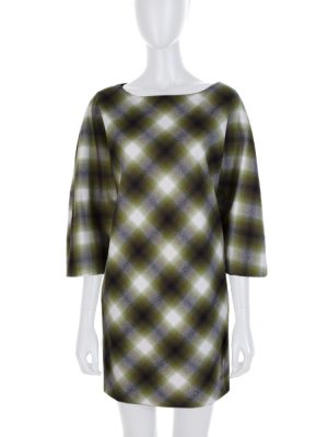 Off White Green Tartan Wool Dress by Gucci - Le Dressing Monaco