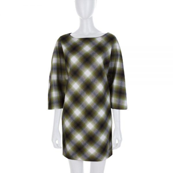 Off White Green Tartan Wool Dress by Gucci - Le Dressing Monaco