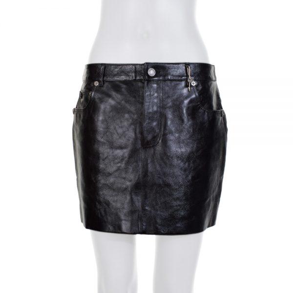 Black Leather Embellished Short Skirt by Saint Laurent - Le Dressing Monaco