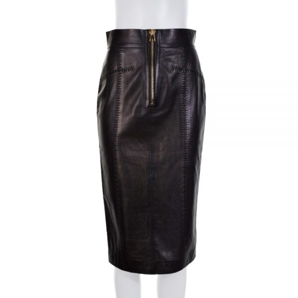 Black Crayon Fitted Zipped Leather Skirt by Tom Ford - Le Dressing Monaco