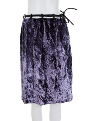 Purple Velvet Leather Belted Skirt by Gucci - Le Dressing Monaco