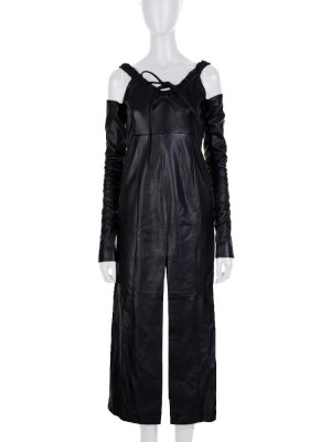 Black Leather Dress Removable Sleeves by Gianfranco Ferre - Le Dressing Monaco