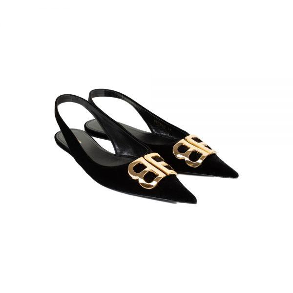 Black BB Velvet SlingBack by Balenciaga - Le Dressing Monaco