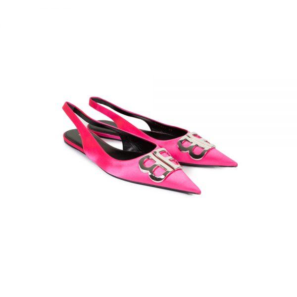 Pink BB Satin SlingBack by Balenciaga - Le Dressing Monaco