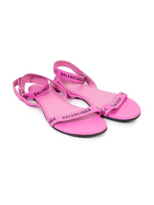 Pink Logo Print Round Flat Leather Sandals by Balenciaga - Le Dressing Monaco
