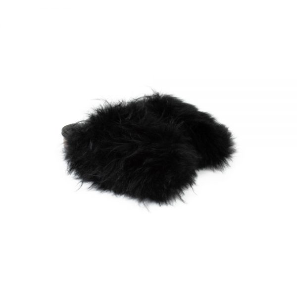 Black Leather Fur Slip-On by Chanel - Le Dressing Monaco