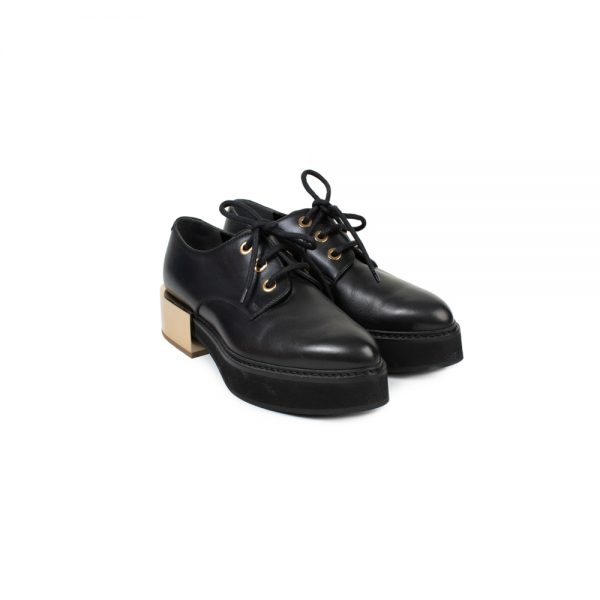 Black Gold Tone Heel Leather Creepers by Alexander McQueen - Le Dressing Monaco