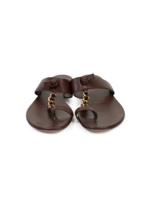 Brown Gold Chain Leather Sandals by Gianvito Rossi - Le Dressing Monaco