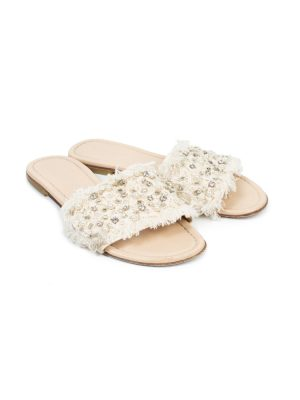 Nude Crystal Embellished Mules by Ermanno Scervino - Le Dressing Monaco