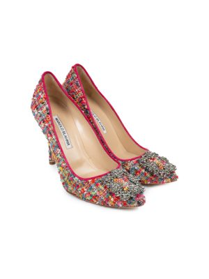 Red Hangisi Tweed Embellished Pumps by Manolo Blahnik - Le Dressing Monaco