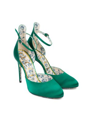Green Satin Pumps Blue Rosebud Lining and Sole by Gucci - Le Dressing Monaco