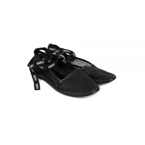 Black Plumetis Ankle Wrap Espadrilles by Christian Dior - Le Dressing Monaco