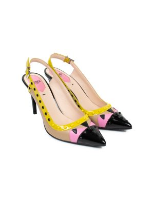 Multicolored Studded Leather Sling Backs by Fendi - Le Dressing Monaco