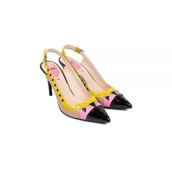 Multicolored Studded Leather Sling Backs by Fendi - Le Dressing Monaco