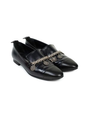 Black Coin Metal Embellished Leather Loafers by Chanel - Le Dressing Monaco