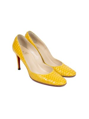Yellow Python Leather Pumps by Louboutin - Le Dressing Monaco