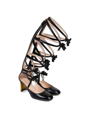 Black Leather Pearl Embellished Spartiates by Gucci - Le Dressing Monaco