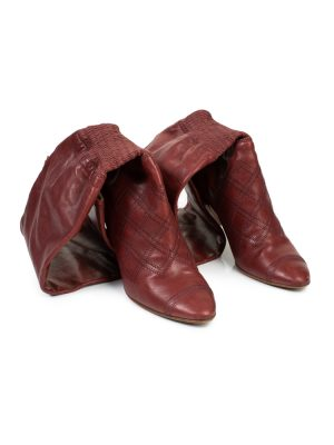 Burgundy Leather Thigh Boots by Chanel - Le Dressing Monaco