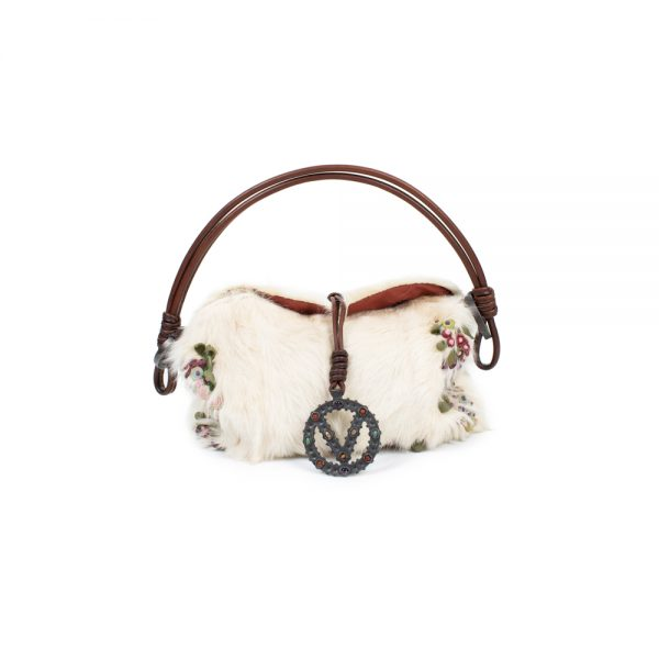 White embroidered Fur Leather V Logo Bag by Valentino - Le Dressing Monaco