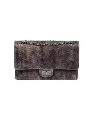 Grey Python Leather 2.55 Flap Bag by Chanel - Le Dressing Monaco