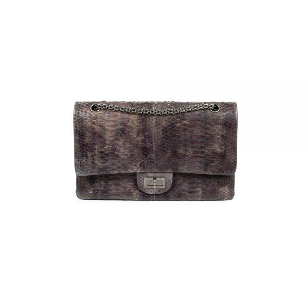 Grey Python Leather 2.55 Flap Bag by Chanel - Le Dressing Monaco