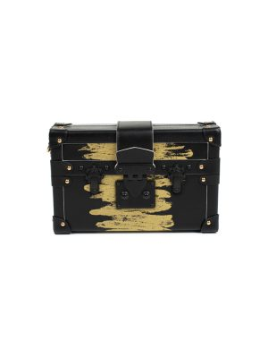 Black Gold Petite Malle Handbag by Louis Vuitton - Le Dressing Monaco