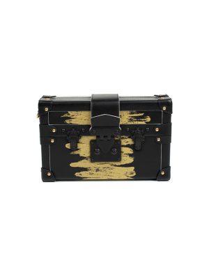 Black Gold Petite Malle Handbag by Louis Vuitton - Le Dressing Monaco