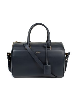 Navy Classic Duffle Leather Bag by Saint Laurent - Le Dressing Monaco