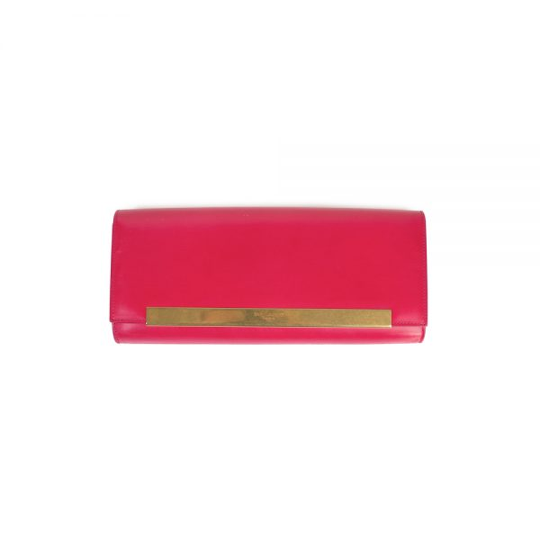 Hot Pink Leather Lutetia Clutch Bag by Saint Laurent - Le Dressing Monaco