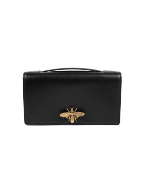 Black Gold Tone Leather D-Bee Clutch Bag by Christian Dior - Le Dressing Monaco
