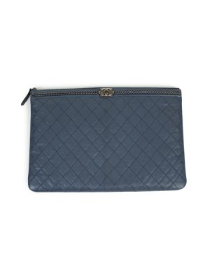Timeless Classic Blue Leather Quilted Pochette by Chanel - Le Dressing Monaco
