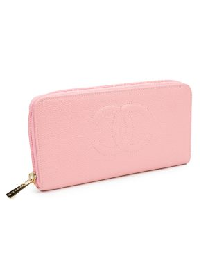 Pink Leather Logo Zipped Wallet by Chanel - Le Dressing Monaco
