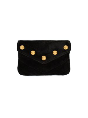 Black Gold Tone Velvet Wallet by Chanel - Le Dressing Monaco