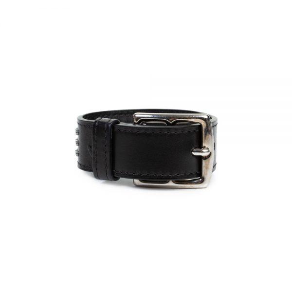 Black Metal Leather Bracelet by Hermes - Le Dressing Monaco