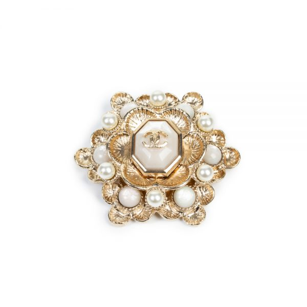Gold Toned Pearl Embellished Brooch by Chanel - Le Dressing Monaco
