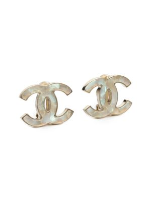 Silver Mother of Pearl CC Clip Ear Rings by Chanel - Le Dressing Monaco