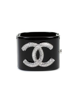 Black Resin Silver Logo Metal Cuff by Chanel - Le Dressing Monaco