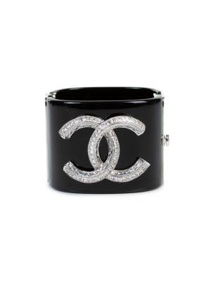 Black Resin Silver Logo Metal Cuff by Chanel - Le Dressing Monaco