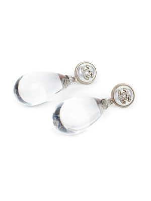 Transparent Drop Strass Logo Earrings by Chanel - Le Dressing Monaco