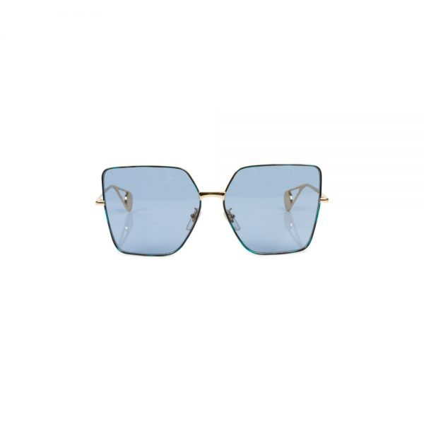 Blue Gold Octogonal Shaped Sun Glasses by Gucci - Le Dressing Monaco