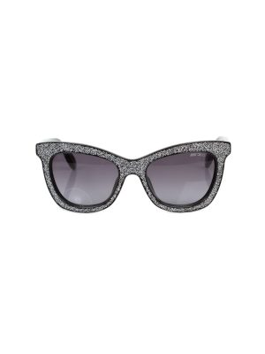 Silver Glitter Sun Glasses by Jimmy Choo - Le Dressing Monaco