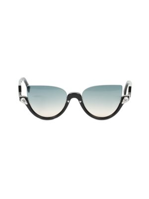 Black Blink Half-rim Crystal Sun Glasses by Fendi - Le Dressing Monaco