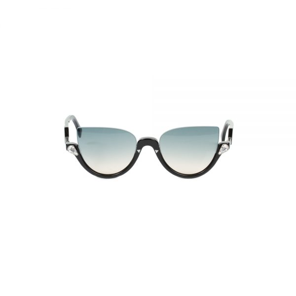 Black Blink Half-rim Crystal Sun Glasses by Fendi - Le Dressing Monaco