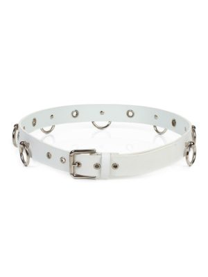 White Leather Ring Metal Belt by Dolce e Gabbana - Le Dressing Monaco